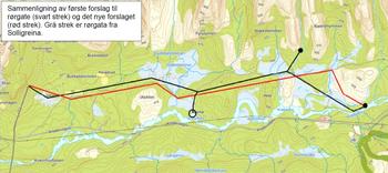 Kart av rørgatetrase Knabedalen