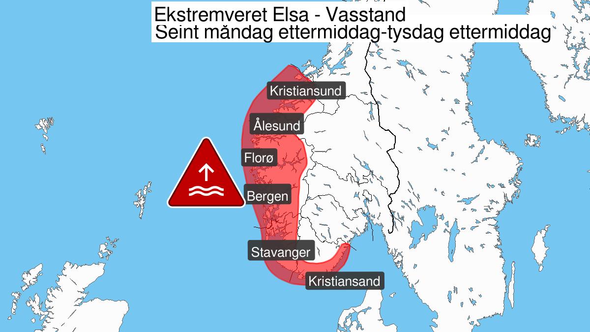 Kart over ekstremværet Elsa